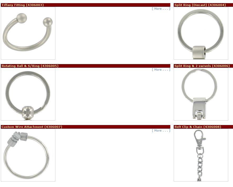 Tiffany Fitting (4306003), Split Ring (Diecast) (4306004), Rotating Ball & S/Ring (4306005), Split Ring & 2 Swivels (4306006), Custom Wire Attachment (4306007), Belt Clip & Chain (4306008)